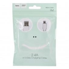 КАБЕЛЬ USB - MICROUSB HOCO X13 1.0М 2.4А БЕЛЫЙ
