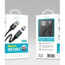 Магнитный кабель Profit microUSB с тканевой оплеткой 1m 2.4A черный