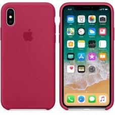 Чехол бампер Silicone Case для iPhone XR (Rose red)