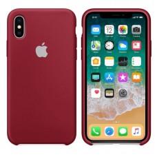 Чехол бампер Silicone Case для iPhone XR (Dark red)