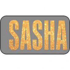 Шаблон № 1035 SASHA Шрифт Fusion (Золотые блестки с размытием)
