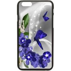 Шаблон №2054 Синие бабочки и цветы на сером фоне