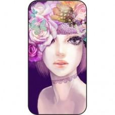 Шаблон №2106 Девушка с цветами абстракция