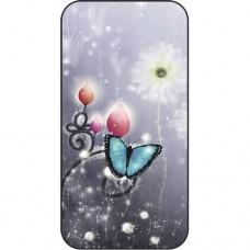 Шаблон №2179 Голубая бабочка на сером неоновом фоне