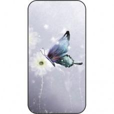 Шаблон №2180 Синяя бабочка на сером фоне