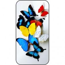 Шаблон №2186 Разноцветные бабочки на бумаге