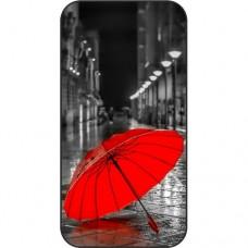 Шаблон №2190 Красный зонт на мокром тротуаре
