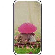 Шаблон №2247 Двое под зонтиком в тумане на цветочной поляне