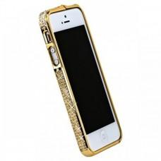 Металлический бампер для Iphone 5/5s Золото со стразами