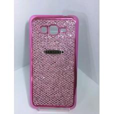 Силиконовый чехол розовый с блестками Samsung Galaxy Grand Prime (G530)