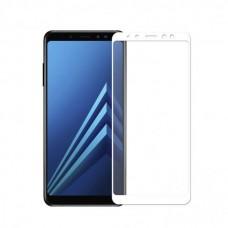 Защитное стекло 3D на весь экран для Samsung Galaxy A8 Plus 2018 / A7 2018, белое