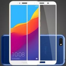 Защитное стекло 5d полной проклейки Full glue для Huawei Y5 Prime (2018) / Honor 7A белое