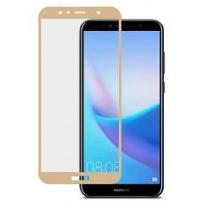 Защитное стекло 3d на весь экран для Huawei Y5 Prime (2018), Honor 7A золотое