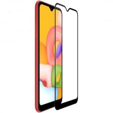 Защитное стекло полной проклейки Full glue для Samsung Galaxy A01 (A015) черное