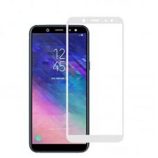 Защитное стекло 3D на весь экран для Samsung Galaxy A6 (2018) белое