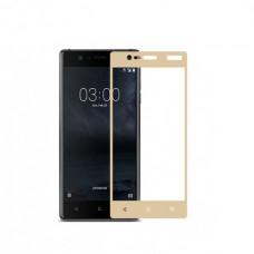 Защитное стекло на весь экран для Nokia 3, золотое