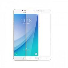 Защитное стекло 3d на весь экран для Samsung Galaxy C7 / C7 Pro, белое