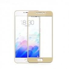 Защитное стекло 3d на весь экран для MEIZU M5 / M5 mini, золотое